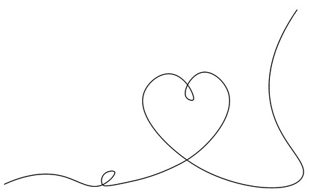 Heart background one line drawing, valentines day card, vector illustration