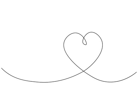 Heart love shape background one line drawing, valentine day card vector illustration