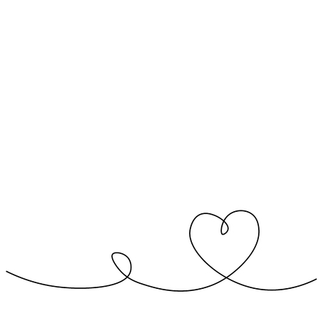 Heart love background one line drawing, vector illustration Illustration
