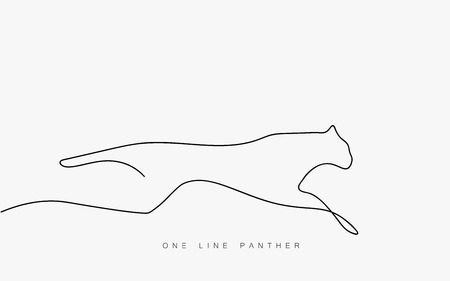 Panthera pardus leopard running one line drawing isolated on the white background. Africa or India. Vector illustration Иллюстрация