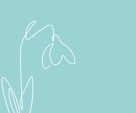 Spring flowers snowdrop on white background, vector illustration Çizim