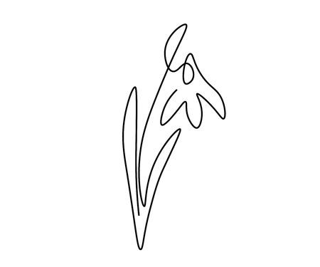 Spring flower snowdrop one line draw, vector illustration