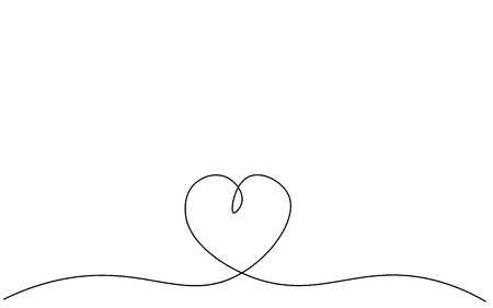 Heart background one line drawing, vector illustration