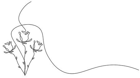 Roses fleur fond une ligne dessiner, illustration vectorielle Vecteurs