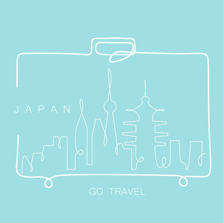 Travel concept Japan skyline cityscape from travel bag one line drawing, vector illustration Illustration