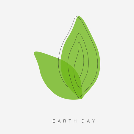 Earth day concept icon, green leaf vector illustration