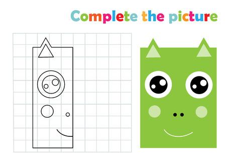 Complete picture dragon copy coloring page book, vector illustration Vetores