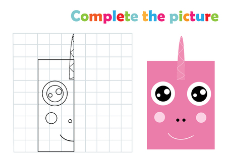 Complete picture unicorn copy coloring page book, vector illustration