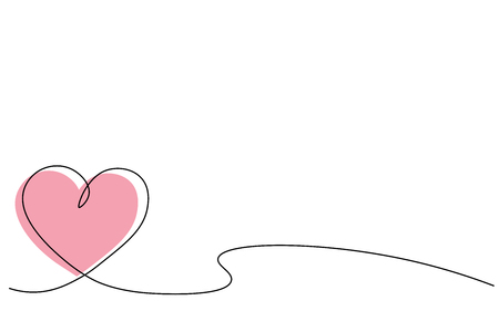 Heart background one line draw, vector illustration Stock Vector - 119405793