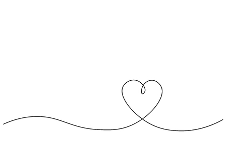 Heart background one line draw, vector illustration Stock Vector - 119405795