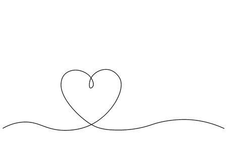 Heart background one line draw, vector illustration Illustration