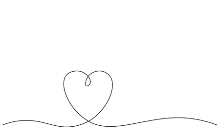 Heart background one line draw, vector illustration Illustration