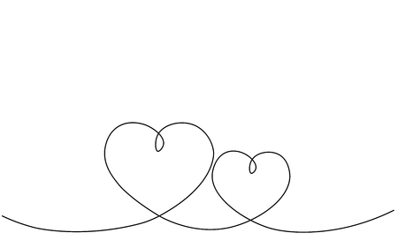 Hearts background one line draw, vector illustration Stock Vector - 119405799