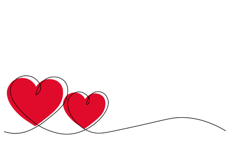 Hearts background one line draw, vector illustration