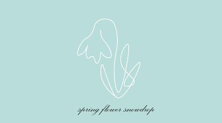 Snowdrop spring flowers, one line draw vector illustration