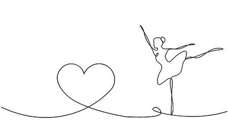 Hearts background and ballet dancer, vector illustration