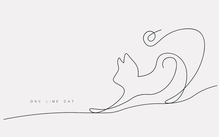 Cat walking one line drawing isolated on the white background. Cute domestic animal, print for t shirt. Vector illustration Illustration