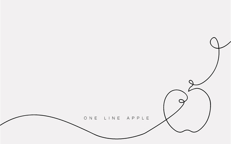 Apple one line drawing isolated on the white background. Vector illustration