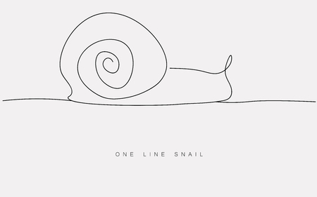 One line drawing snail animal silhouette icon isolated on the white background. Print for clothes. Vector illustration