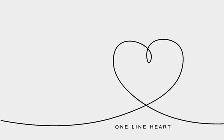 Valentines day card with love heart one line drawing. Vector illustration