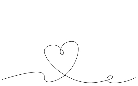 Heart banner one line drawing, vector illustration
