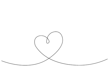 Heart banner one line drawing, vector illustration Stock Vector - 120147642