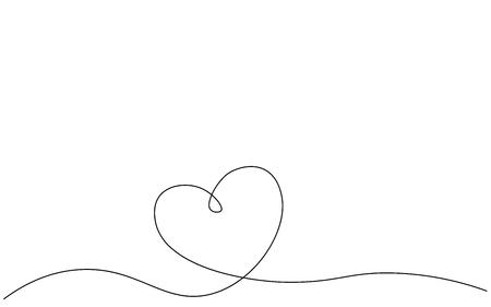 Heart banner one line drawing, vector illustration Stock Vector - 120147649
