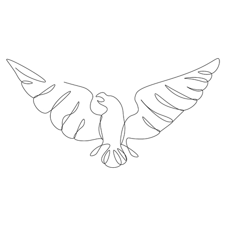 American eagle one line drawing vector illustration