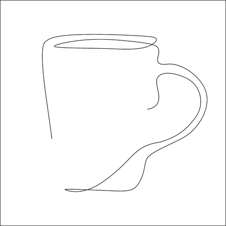 Cup of tea one line drawing vector illustration Ilustrace