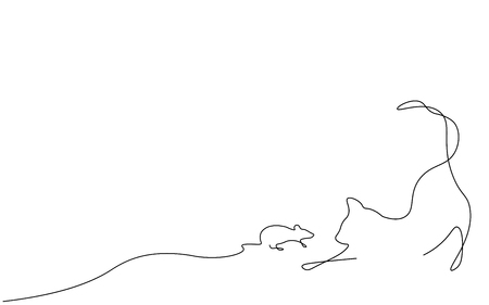 Cat and mouse one line drawing vector illustration