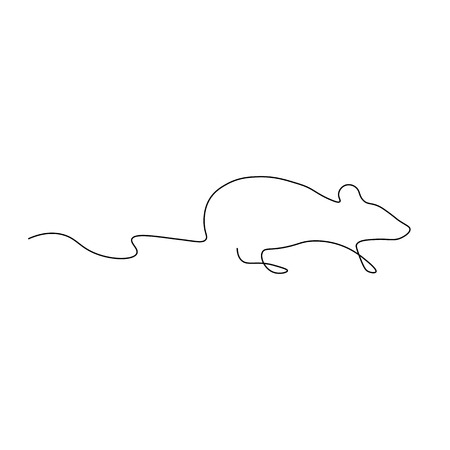 Mouse one line drawing vector illustration