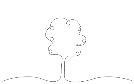 Apple tree one line drawing vector illustration