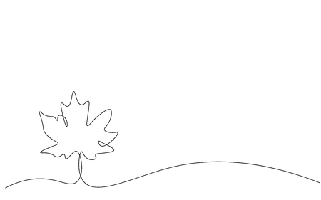 Autumn background with leaves one line drawing vector illustration 일러스트
