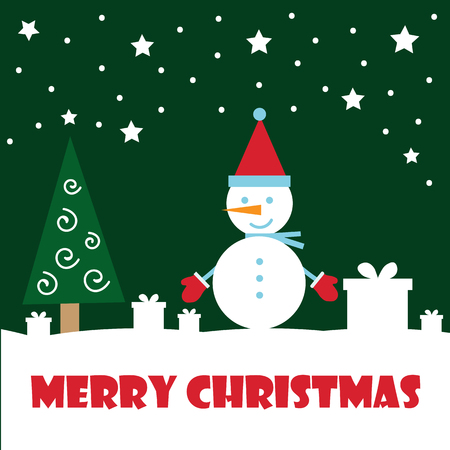 Marry christmas and Happy New Year greeting card. Vector illustration