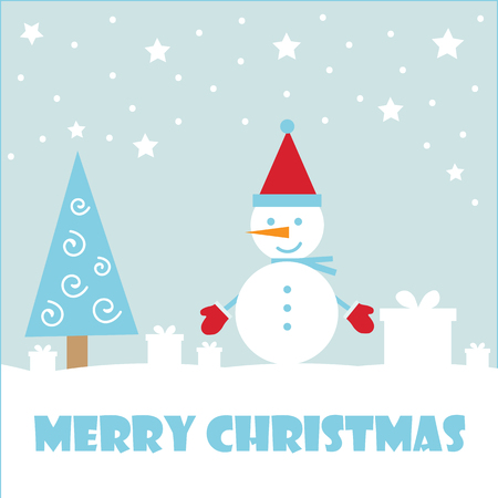 Marry christmas and Happy New Year greeting card. Vector illustration Фото со стока - 123927291