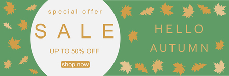 Autumn background, sale banner with leaves for shopping. Vector illustration Illustration