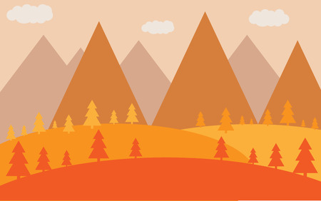 Autumn flat landscape with silhouettes of trees, vector-illustration