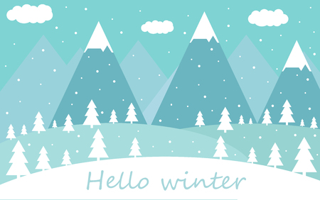 Winter flat landscape with silhouettes of trees, vector-illustration