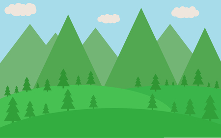Spring or summer flat landscape with silhouettes of trees, vector-illustration