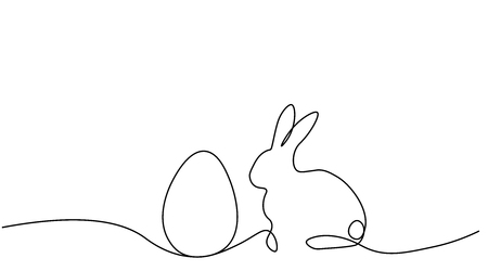 Easter background with bunny rabbit and egg, one lines drawing vector illustration