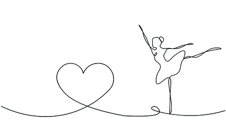 Valentines day background with heart and dancer ballet, vector illustration 向量圖像