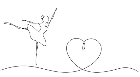 Valentines day background with heart and dancer ballet, vector illustration Ilustração