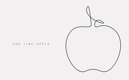 Apple on white background one line drawing, vector illustration