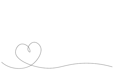 Abstract heart background one line drawing vector illustration