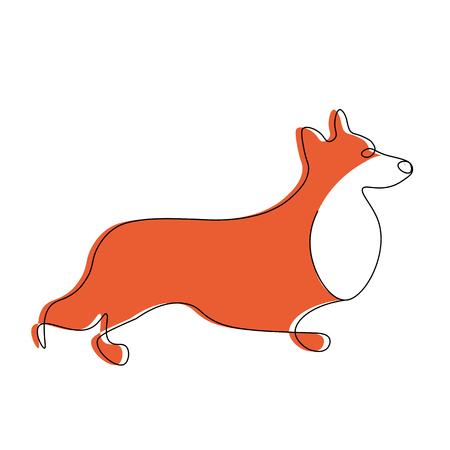 Corgi dog isolated on white background vector illustration  イラスト・ベクター素材