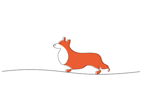 Corgi dog isolated line drawing vector illustration 矢量图像