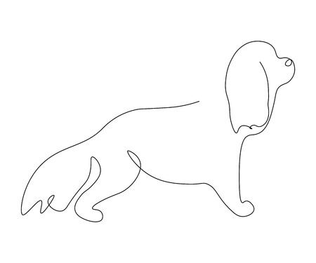 Cocker spaniel puppy silhouette line drawing vector illustration