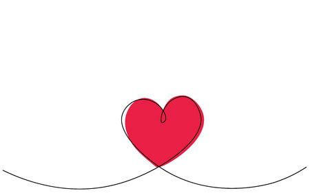 Valentines day heart card line drawing vector illustration