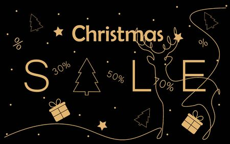 Christmas sale background with decoration elemants vector illustration