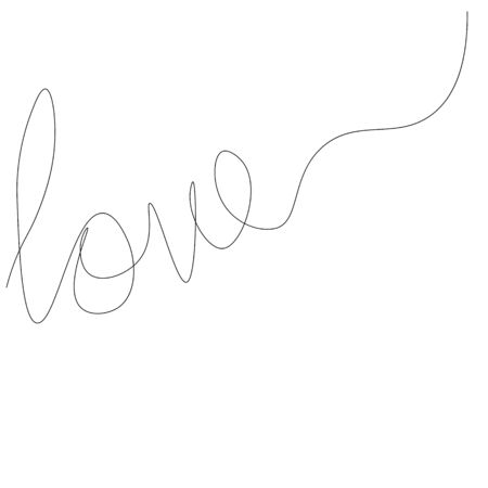 Love text hand drawing on white background vector illustration